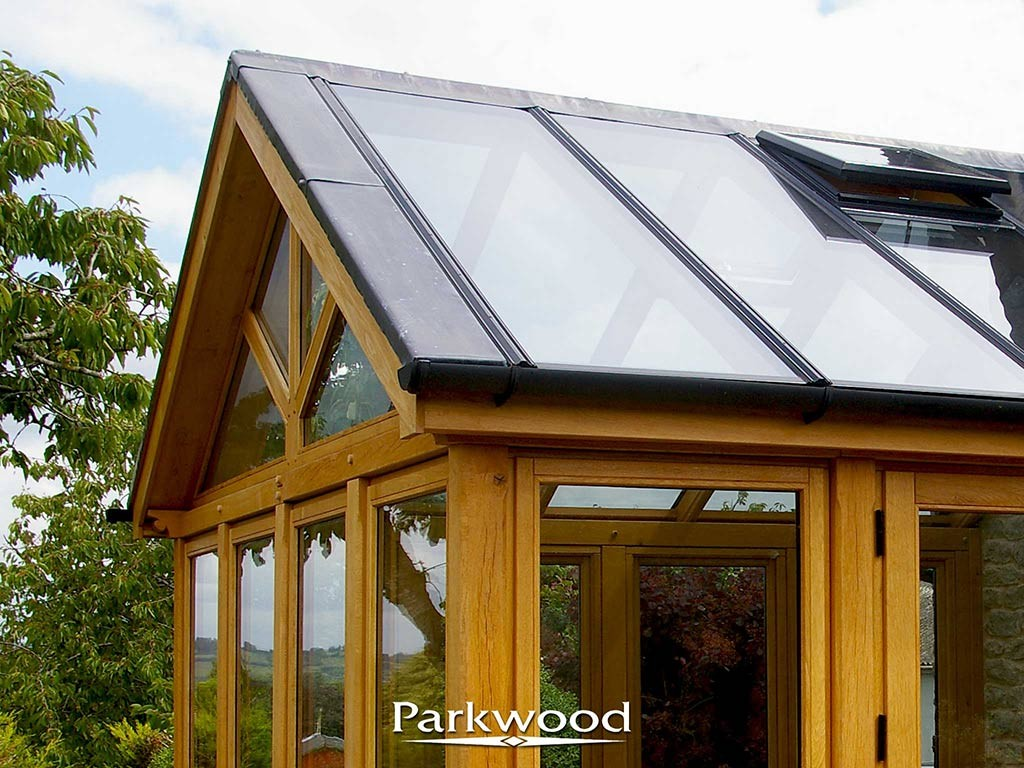 Green oak conservatory by Parkwood